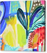 Abstract Jungle And Wild Flowers Canvas Print