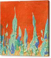 Abstract Mirage Cityscape In Orange Canvas Print