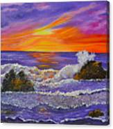 Abstract Ocean- Oil Painting- Puple Mist- Seascape Painting Canvas Print