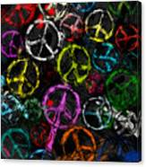 Abstract Peace Signs Collage Canvas Print
