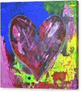 Abstract Red Heart Acrylic Painting Canvas Print