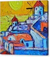 Abstract Santorini Sunset Oia Windmills  Canvas Print
