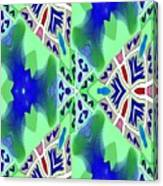 Abstract Seamless Pattern - Blue Green Turquoise Red White Canvas Print