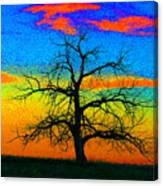 Abstract Single Tree Strong Colors Canvas Print