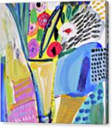 Abstract Still Life With Flowers Canvas Print