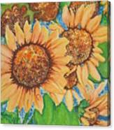 Abstract Sunflowers Canvas Print