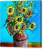Abstract Sunflowers W/vase Canvas Print