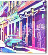 Abstract Watercolor - Havana Cuba Classic Car I Canvas Print