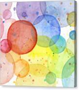Abstract Watercolor Rainbow Circles Canvas Print