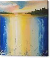 Abstract Waterfall At Sunset Canvas Print