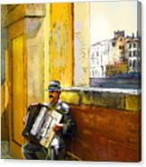 Accordeonist In Florence In Italy Canvas Print