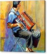Accordian Player Canvas Print