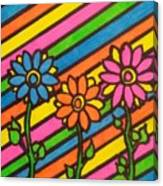 Aceo Abstract Flowers Canvas Print