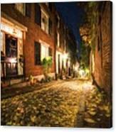Acorn Street Autumn Boston Mass Painterly Canvas Print
