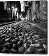 Acorn Street Cobblestone Detail Boston Ma Black And White Canvas Print