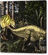 Acrocanthosaurus Hunting Tenontosaurus Canvas Print
