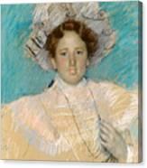 Adaline Havemeyer In A White Hat Canvas Print
