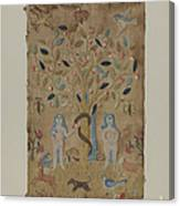 Adam & Eve Embroidered Picture Canvas Print