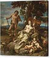 Adam And Eve With The Infants Cain And Abel Canvas Print