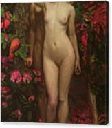 Adam And Eve With The Snake Canvas Print