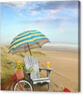 Adirondack Chair With Bicycle And Umbrella By The Seaside Canvas Print