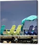 Adirondack Chairs At Coyaba Mahoe Bay Jamaica. Canvas Print