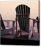 Adirondack Chairs Dockside At Lavender Haze Twilight Canvas Print