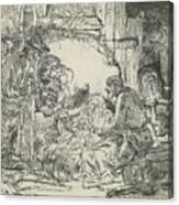 Adoration Of The Shepherds, With Lamp Canvas Print