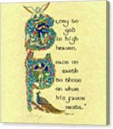 Advent Peace On Earth Canvas Print