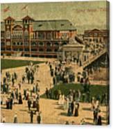 Aerial Birds Eye View Of Long Beach Pier And Beachfront California Circa 1895 Canvas Print
