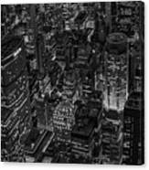 Aerial New York City Skyscrapers Bw Canvas Print