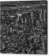 Aerial New York City Sunset Bw Bw Canvas Print