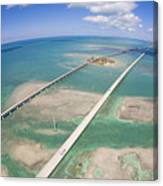 Aerial Of Seven Mile Bridge At Extreme Canvas Print