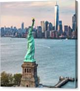 Aerial Of The Statue Of Liberty At Sunset, New York, Usa Canvas Print