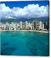 Aerial Of Waikiki Canvas Print