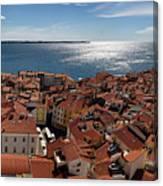 Aerial Panorama Of Piran Slovenia On Adriatic Sea With Marina An Canvas Print