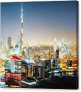Aerial Panorama View Of Dubai By Night Canvas Print