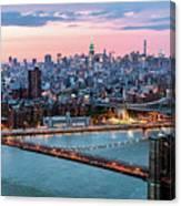 Aerial Panoramic Of Midtown Manhattan At Dusk, New York City, Us Canvas Print