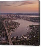 Aerial Seattle View Along Interstate 5 Canvas Print