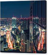 Aerial View Cityscape At Night In Tokyo Japan From A Skyscraper Canvas Print
