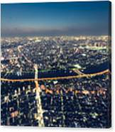 Aerial View Cityscape At Night Canvas Print