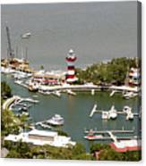 Aerial View Harbour Town Lighthouse In Hilton Head Island Canvas Print