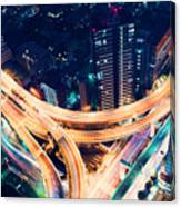 Aerial-view Highway Junction At Night In Tokyo Japan Canvas Print