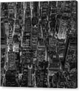 Aerial View Midtown Manhattan Nyc Bw Canvas Print