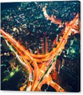 Aerial View Of A Massive Highway Intersection In Tokyo Canvas Print