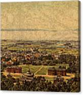 Aerial View Of Berkeley California In 1900 On Worn Distressed Canvas Canvas Print