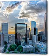 Aerial View Of Charlotte City Skyline At Sunset Canvas Print
