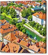 Aerial View Of Ljubljana Green River Canvas Print