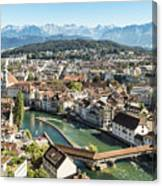 Aerial View Of Lucerne In Switzerland.  Canvas Print
