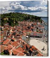 Aerial View Of Piran Slovenia On The Adriatic Sea Coast With Har Canvas Print